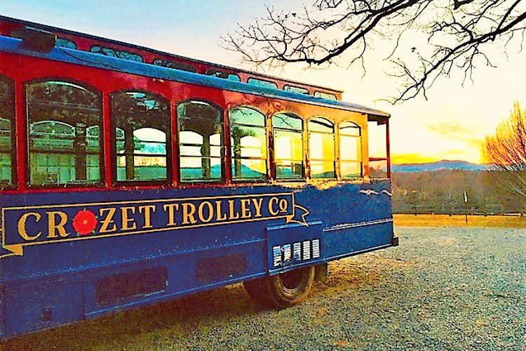 Trolley and a Virginia sunset