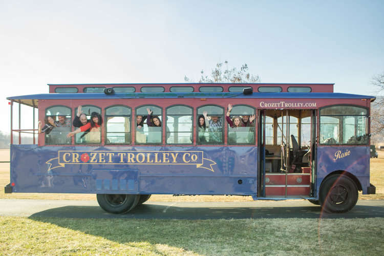 guests on the wedding trolley