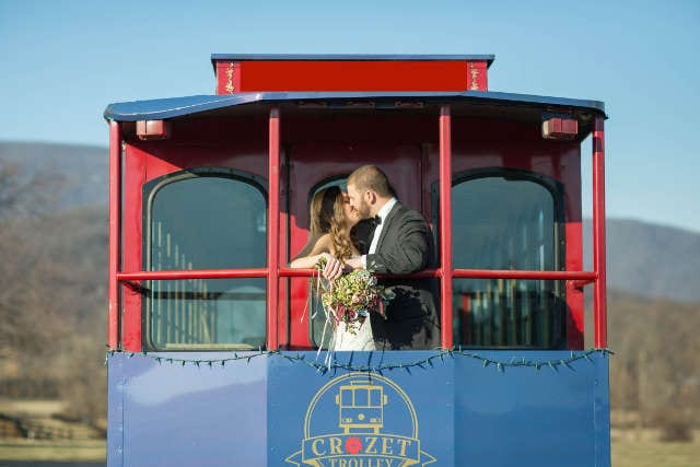 Wedding couple on the back of the Crozet Trolley
