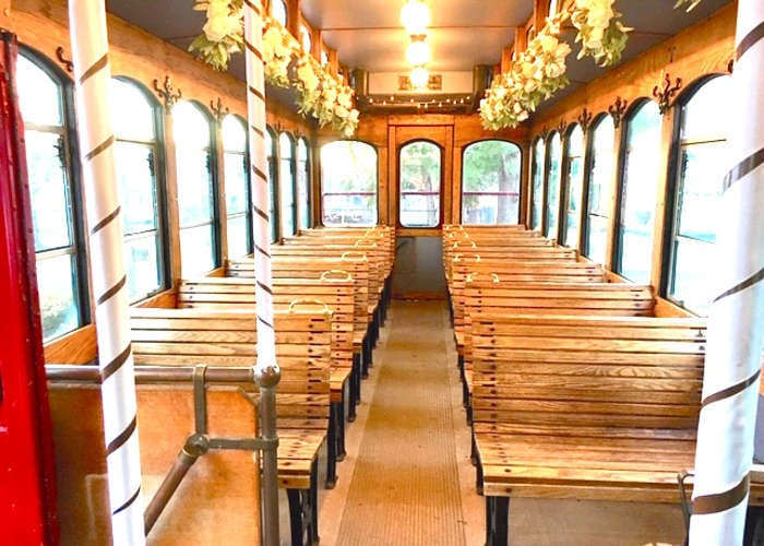 Decorated trolley interior