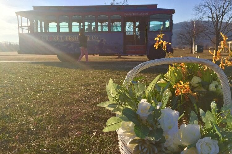 Wedding flowers and the trolley